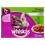 Aliment Chat Whiskas 7+ Ans Sachets Fraîcheur Sélection Mixte en Gelée 12 x 100 g