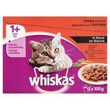 Aliment Chat Whiskas 1+ An  Sachets Fraîcheur Sélection aux Viandes en Sauce Economy Pack 12 x 100 g