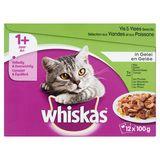 Aliment Chat Whiskas 1+An Sachets Fraîcheur Sélection aux Viandes et aux Poissons en Gelée 12 x 100g