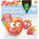 Carrefour Kids Gourdes aux Fruits Pomme Fraise 4 x 90 g