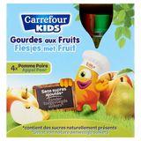 Carrefour Kids Flesjes met Fruit Appel Peer 4 x 90 g