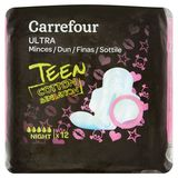 Carrefour Serviettes Ultra Minces Teen Cotton Sensation Night x 12