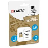 Emtec Geheugenkaart micro SDHC Gold Plus 16GB + adapter
