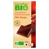 Carrefour Bio Zwarte Chocolade 74% Cacao 100 g