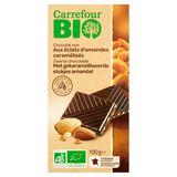 Carrefour Bio Zwarte Chocolade Gekaramelliseerde  Amandel 100 g