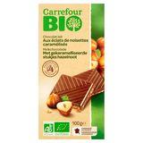 Carrefour Bio Chocolat Lait aux Éclats de Noisettes Caramélisés 100 g