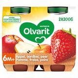 Olvarit Purée de Fruits Bébé Fraise Pomme Poire 6 Mois 2 x 200 g
