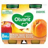 Olvarit Purée de Fruits Bébé Abricot Pomme Banane 8 Mois 2 x 200 g