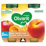 Olvarit Purée de Fruits Bébé Pêche Pomme Biscuit 8 Mois 2 x 200 g