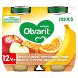Olvarit Purée de Fruits Bébé Banane Pomme Orange 12 Mois 2 x 200 g