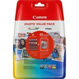 Canon - Photo Value Pack CLI-526 BL/C/M/Y + 50 vellen