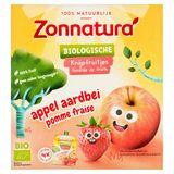 Zonnatura Biologische Knijpfruitjes Appel Aardbei 4 x 85 g