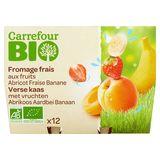 Carrefour Bio Verse Kaas Vruchten Abrikoos Aardbei Banaan 12 x 50 g