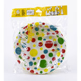 Smart Kids 6 Assiettes jetables Ø20 x 2,6 cm Pois Multicolore