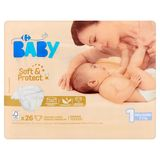 Carrefour Baby Soft & Protect 1 New Born 2-5 kg 26 Couches
