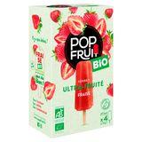 Pop Fruit Bio Organic Sorbet Ultra-Fruité Fraise 4 x 70 g