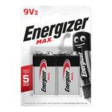 Energizer Max Piles Alcalines 9V2  2 pièces