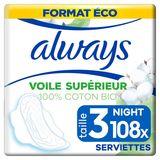 Always Cotton Protection Night Taille3 Serviettes Avec Ailettes x9
