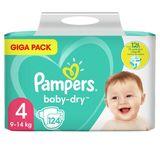 Pampers Baby-Dry Taille 4, 124Langes, Jusqu'À 12h De Protection, 9-14kg