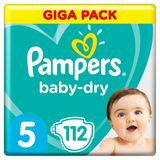 Pampers Baby-Dry Maat 5, 112 Luiers, Tot 12 Uur Bescherming, 11-16kg