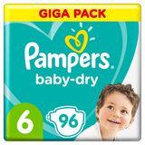 Pampers Baby-Dry Maat 6, 96 Luiers, Tot 12 Uur Bescherming, 13-18kg