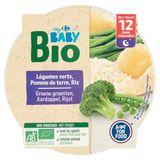 Carrefour Baby Bio Légumes Verts, Pomme de Terre, Riz dès 12 Mois 230 g