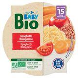Carrefour Baby Bio Spaghetti Bolognese vanaf 15 Maanden 250 g