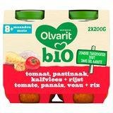 Olvarit Bio petit pot repas bébé tomate panais veau riz  8m 2x200g