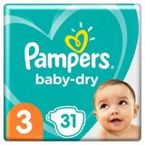 Pampers Baby-Dry Maat 3, 31 Luiers, Tot 12 Uur Bescherming, 6-10kg