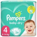 Pampers Baby-Dry Maat 4, 26 Luiers, Tot 12 Uur Bescherming, 9-14kg