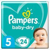 Pampers Baby-Dry Maat 5, 24 Luiers, Tot 12 Uur Bescherming, 11-16kg