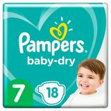 Pampers Baby-Dry Maat 7, 18 Luiers, Tot 12 Uur Bescherming, 15kg+