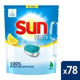 Sun Tot en 1 Tablette lave-vaisselle Citron avec Ecolabel 78 tabs