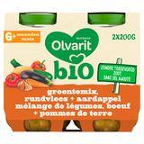 Olvarit Bio petit pot repas bébé mélange légumes boeuf PdT 6m 2x200g