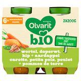 Olvarit Bio petit pot repas carotte petits pois poulet PdT 6m 2x200g