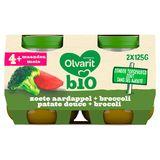 Olvarit Bio panade légumes bébé - patate douce brocolis 4 mois 2x125g