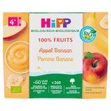 HiPP Biologisch 100% Fruit Appel Banaan 4+ Maanden 4 x 100 g