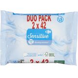 Carrefour Sensitive Vochtig Toiletpapier Duo pack 2 x 42 Stuks