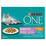 PURINA ONE Wet Kattenvoer Sensitive Kip of Tonijn 8 x 85 g