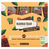 Kanna'Bar La Super Barre Bio Amandes Noix Coco Chocolat Noir 3 x 35 g