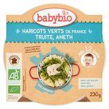 BABYBIO Haricots Verts de France Truite, Aneth dès 12 Mois 230 g