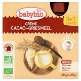 BABYBIO Crème Semoule Cacao dès 8 Mois 4 x 85 g