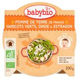 BABY BIO Pomme de Terre Haricots Verts, Dinde & Estragon 12M+ 230 g