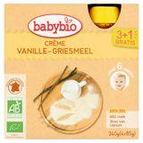 BABYBIO Crème Semoule Vanille dès 6 Mois 4 x 85 g