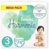 Pampers Harmonie Maat 3, 74 Luiers, 6kg-10kg