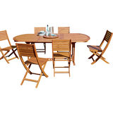 Carrefour Set jardin Table Ovale + 6 Chaises Eucalyptus