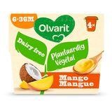Olvarit dessert 100% végétal lait de coco et mangue dès 6 mois 4x95gr