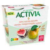 Activia Yaourt Sans Sucres Ajoutés avec Poire, Figue & Chia 4 x 115 g