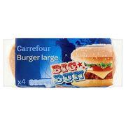 Carrefour 4 Big Bun Burger Large 330 g