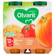 Olvarit Petit Pot Repas Bébé Potiron Poulet Pâtes 12 Mois 2 x 250 g